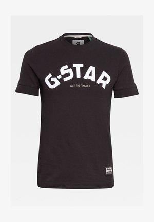FELT APPLIQUE LOGO SLIM R T S\S DK BLACK MEN - T-shirt print - dk black