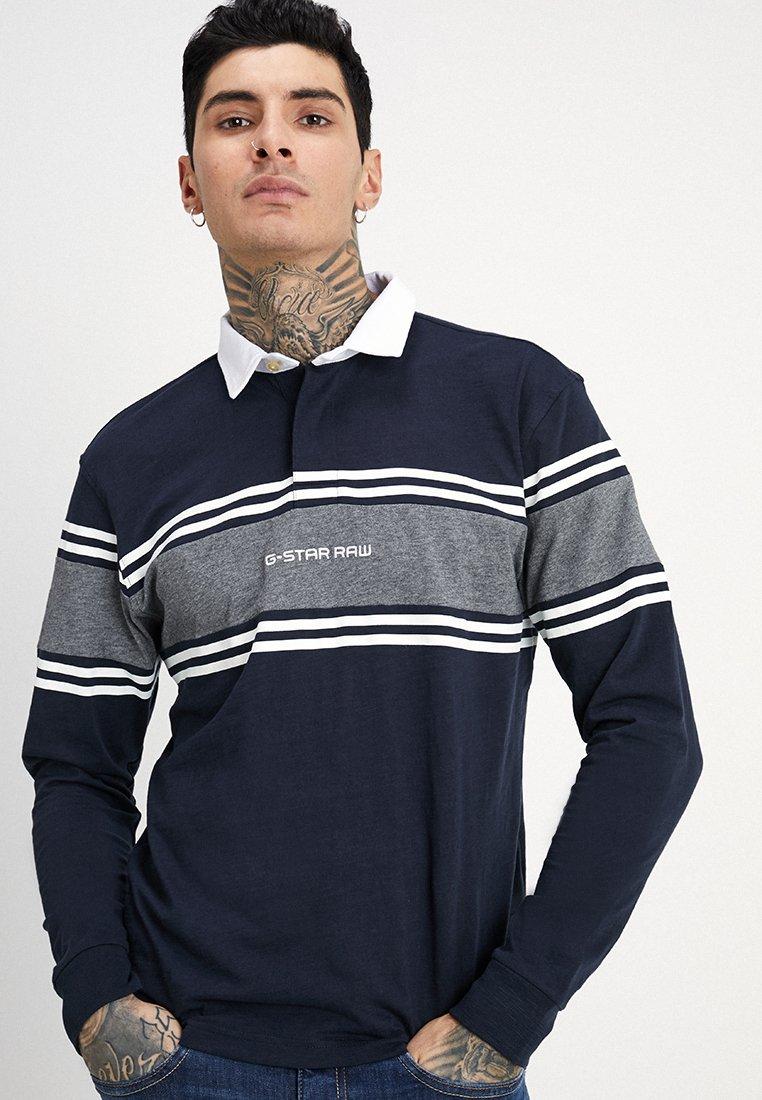G-Star - SWANDO BLOCK RUGBY  - Poloshirt - mazarine blue/carbid heather
