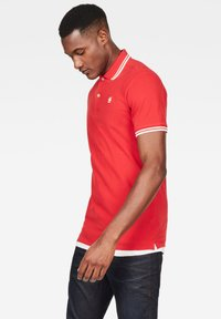 G-Star - DUNDA SLIM STRIPE - Polo shirt - flame/milk - 2