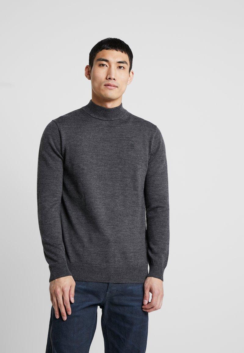 G-Star - CORE MOCK TURTLE - Stickad tröja - dark grey heather