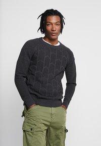 G-Star - SUZAKI BIKER STRAIGHT - Stickad tröja - dark grey heather - 0