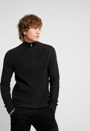 MUZAKI 1/2 ZIP KNIT L/S - Stickad tröja - dark black/asfalt