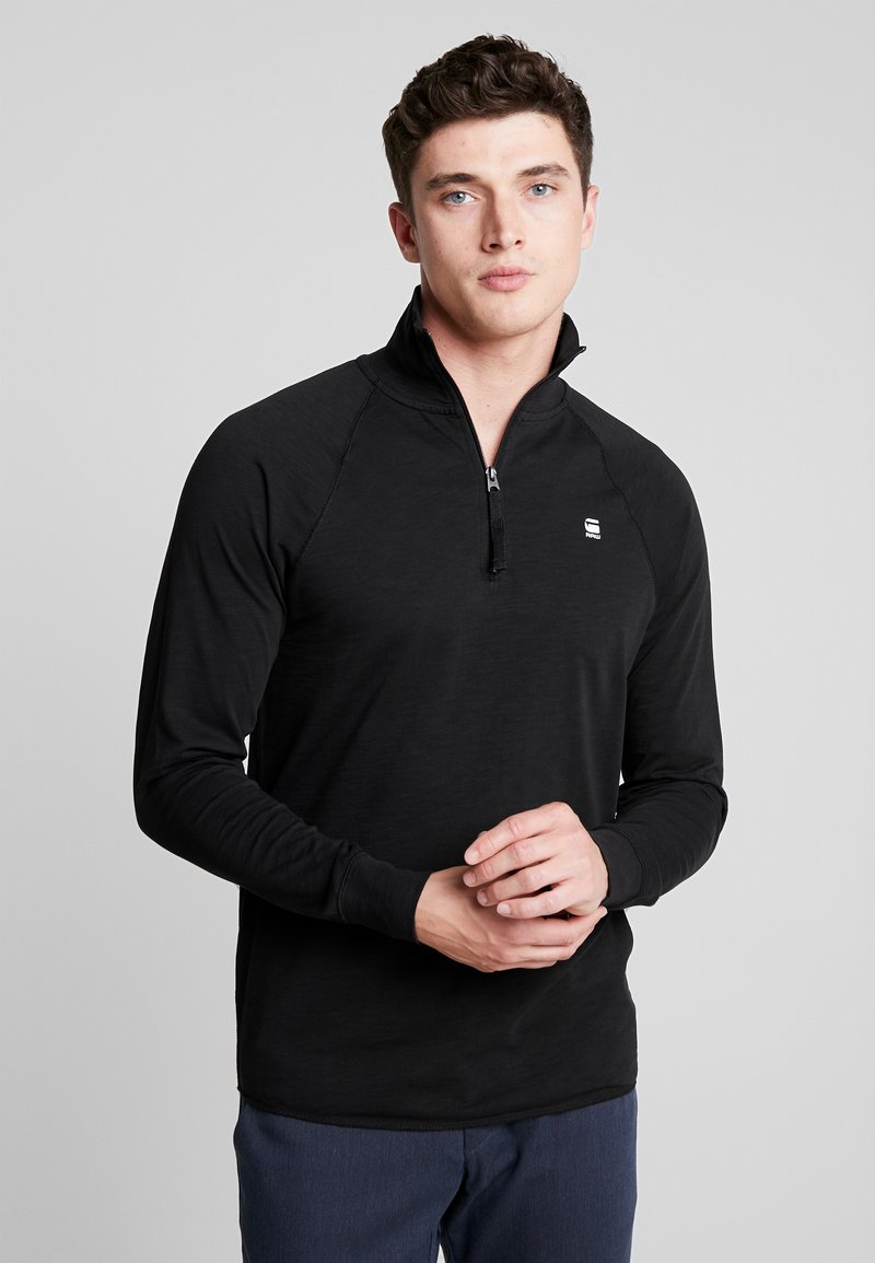 G-Star - JIRGI HALF ZIP - Long sleeved top - dark black