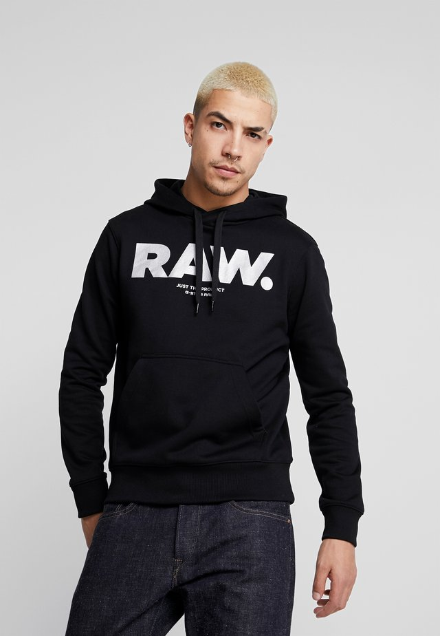 RAW PRINT - Jersey con capucha - dark black