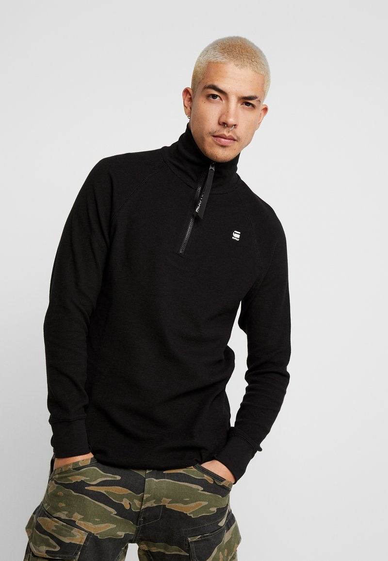 G-Star - JIRGI HALF ZIP T L/S - T-shirt à manches longues - dk black