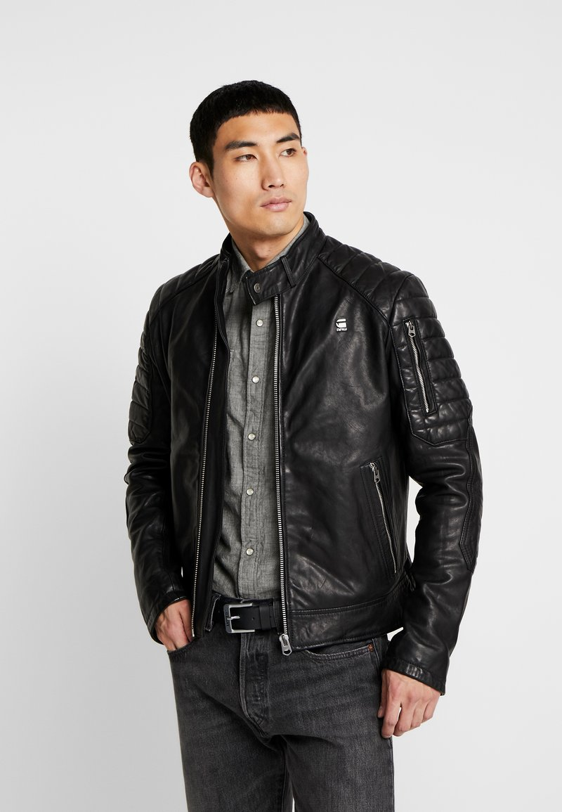 G-Star - SUZAKI LEATHER SLIM - Leather jacket - dark black