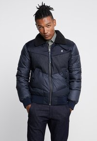 G-Star - ORE DENIM MIX BOMBER - Vinterjacka - mazarine blue - 0