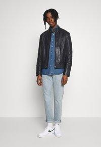 G-Star - BIKER - Leather jacket - mazarine blue - 1