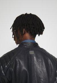 G-Star - BIKER - Leather jacket - mazarine blue - 3