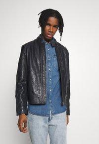 G-Star - BIKER - Leather jacket - mazarine blue - 0