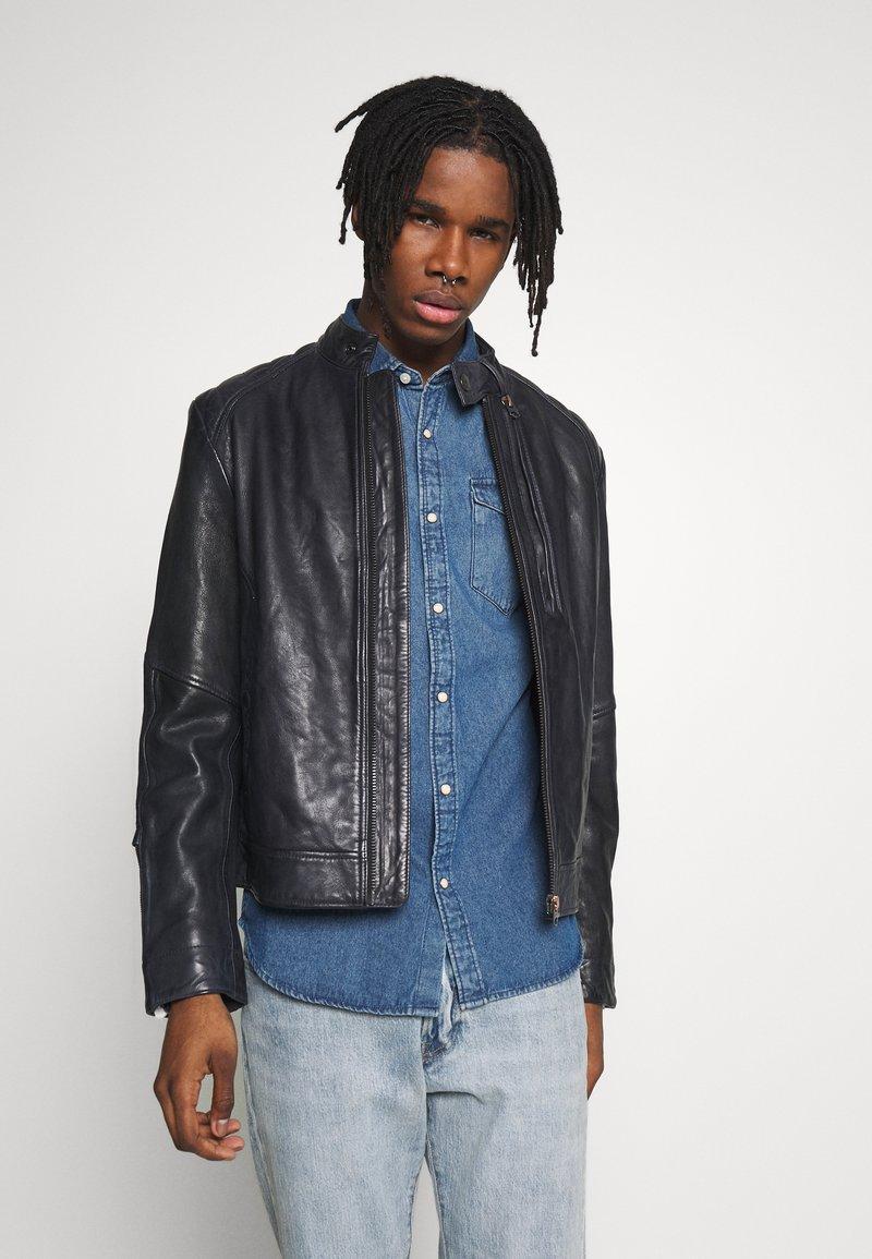 G-Star - BIKER - Leather jacket - mazarine blue