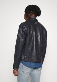 G-Star - BIKER - Leather jacket - mazarine blue - 2