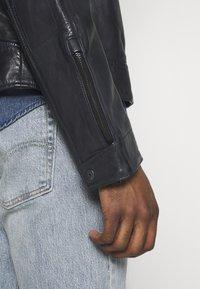 G-Star - BIKER - Leather jacket - mazarine blue - 4