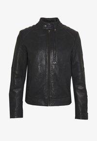 G-Star - BIKER - Leather jacket - mazarine blue - 5