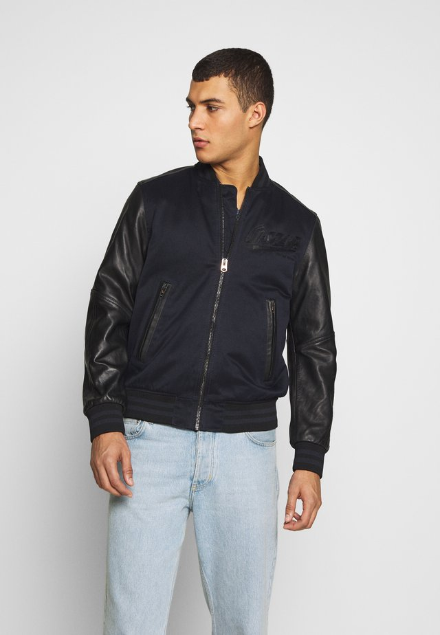 ALLOX LEATHER PM BOMBER - Chaqueta de cuero - mazarine blue