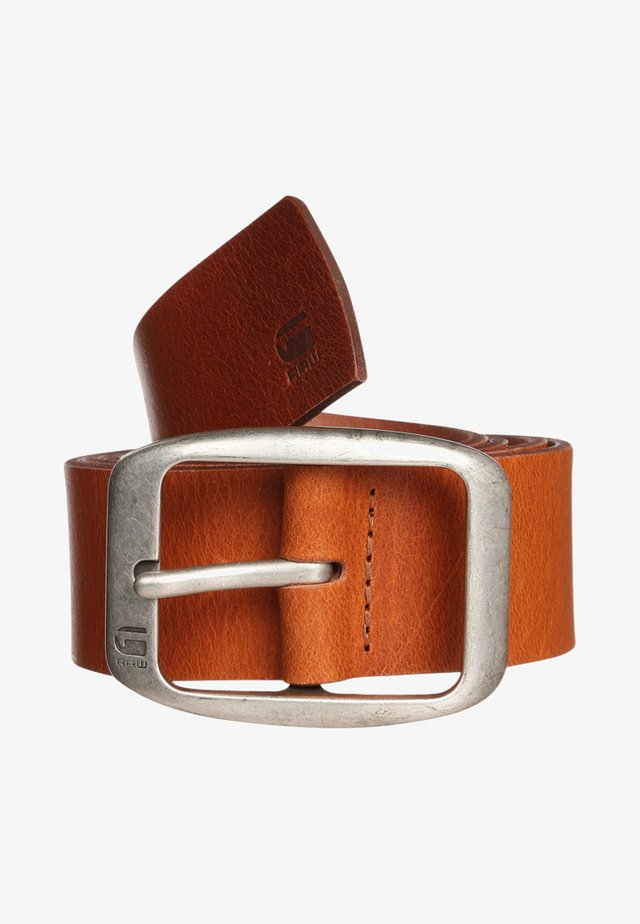 LADD BELT - Pásek - dark cognac/antic silver