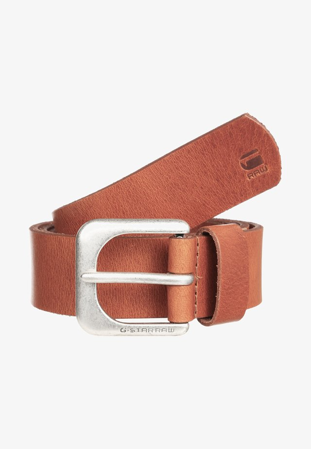ZED BELT - Pásek - dark cognac/antic silver