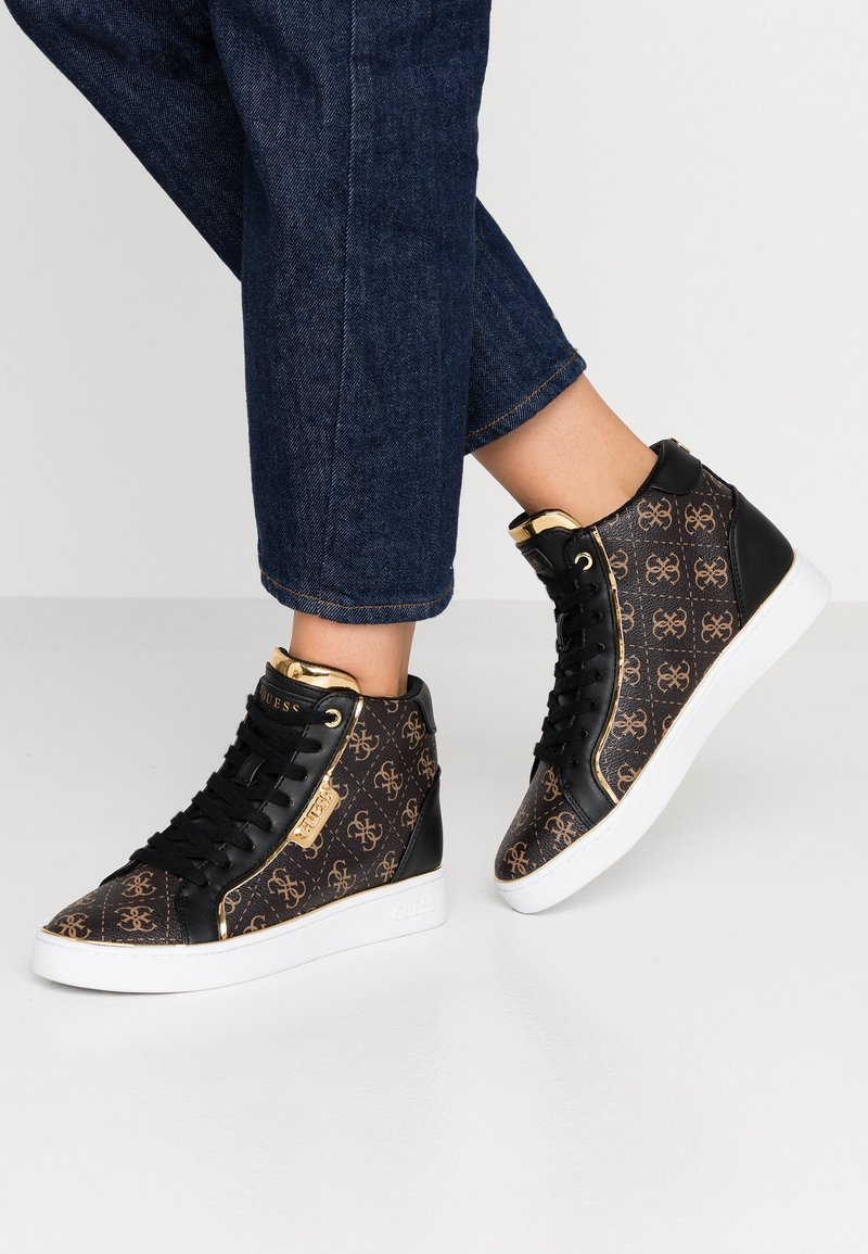 Guess - BRINA - High-top trainers - bronze/black