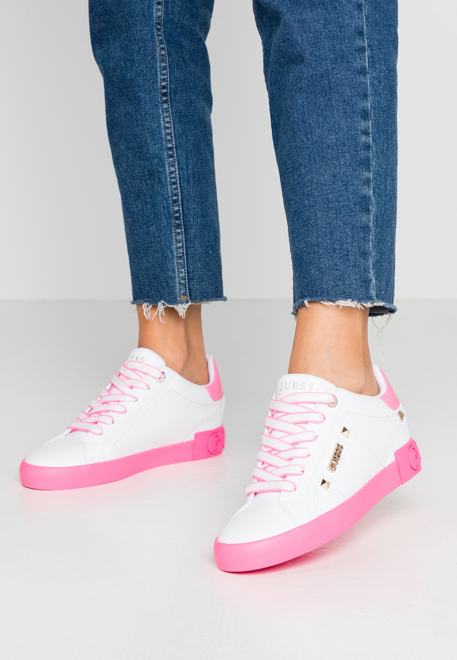 PUXLY Sneakers laag whitepink