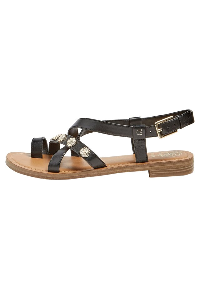 SANDALE BASSE GIORGIE CUIR - T-bar sandals - noir