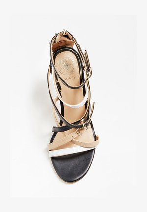 GUESS SANDALETTE KAIRA ECHTES LEDER - Sandalen met hoge hak - mehrfarbig schwarz
