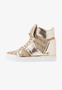 Guess - FREETA - Sneakersy wysokie - beige/brown - 1