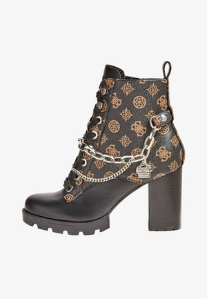 High heeled ankle boots - mehrfarbig braun