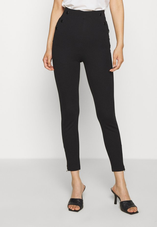 ULTRA CURVE HIGH BUTTON - Spodnie materiałowe - jet black