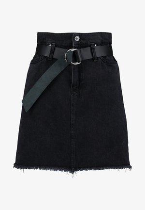 PAPER BAG MINI SKIRT - A-linjainen hame - meridian black