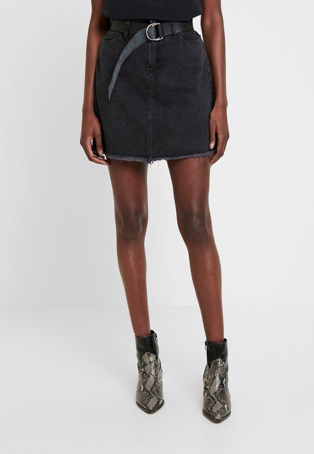 PAPER BAG MINI SKIRT - Spódnica trapezowa - meridian black