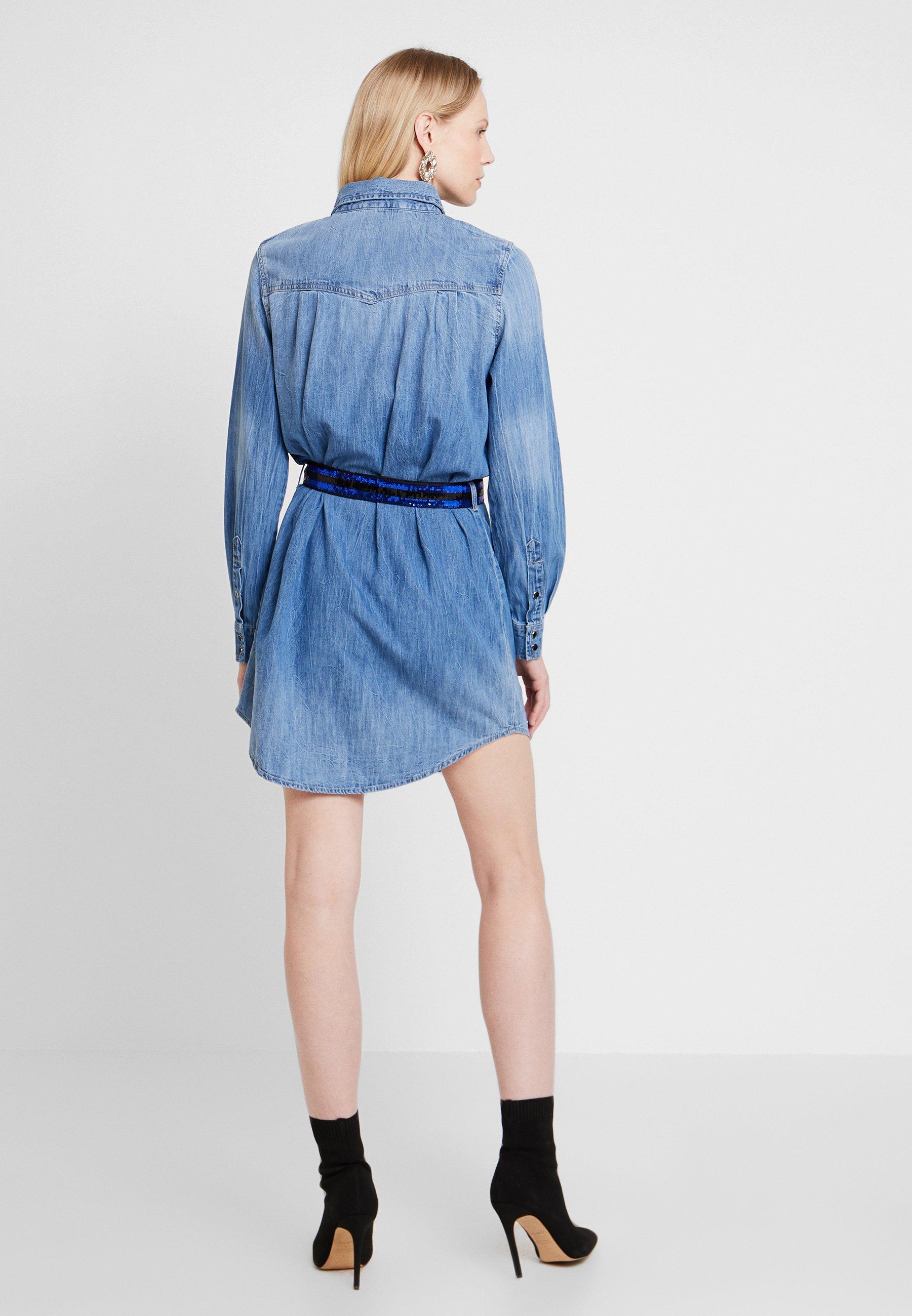 Jean Guess Denim En Blue DressRobe Saya wm80Nn
