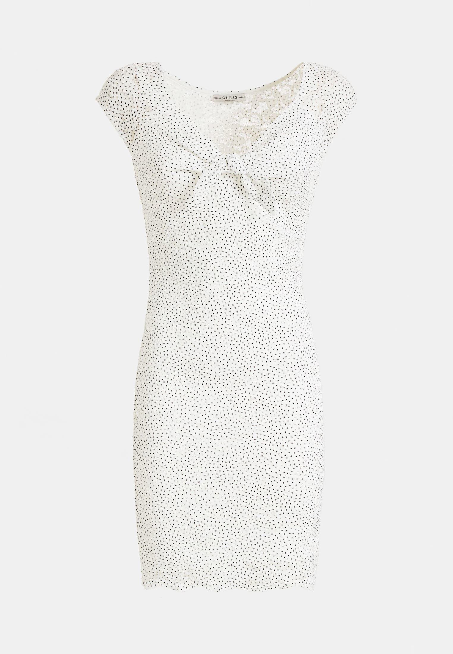 Guess Kleid Mit Punkte-print - Etuikleid Weiß Black Friday