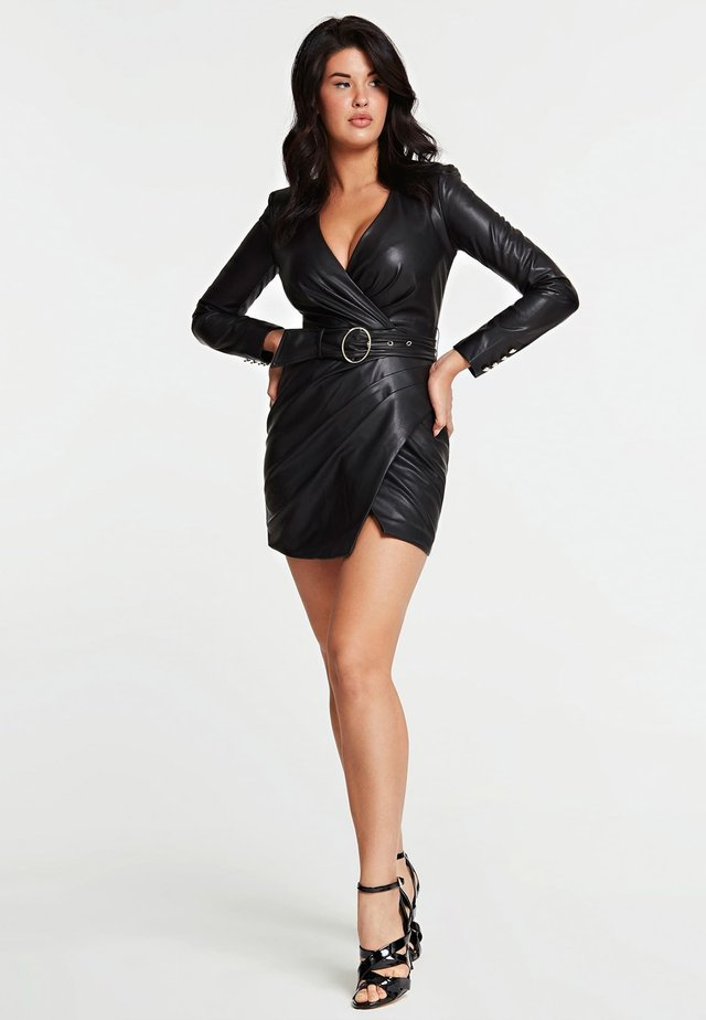 GUESS KLEID KUNSTLEDER - Korte jurk - schwarz
