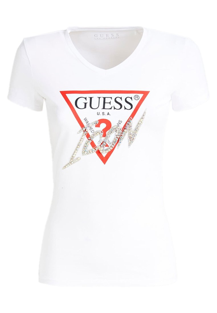 Guess V Neck Ss - T-shirt Con Stampa White Cnix4ZU
