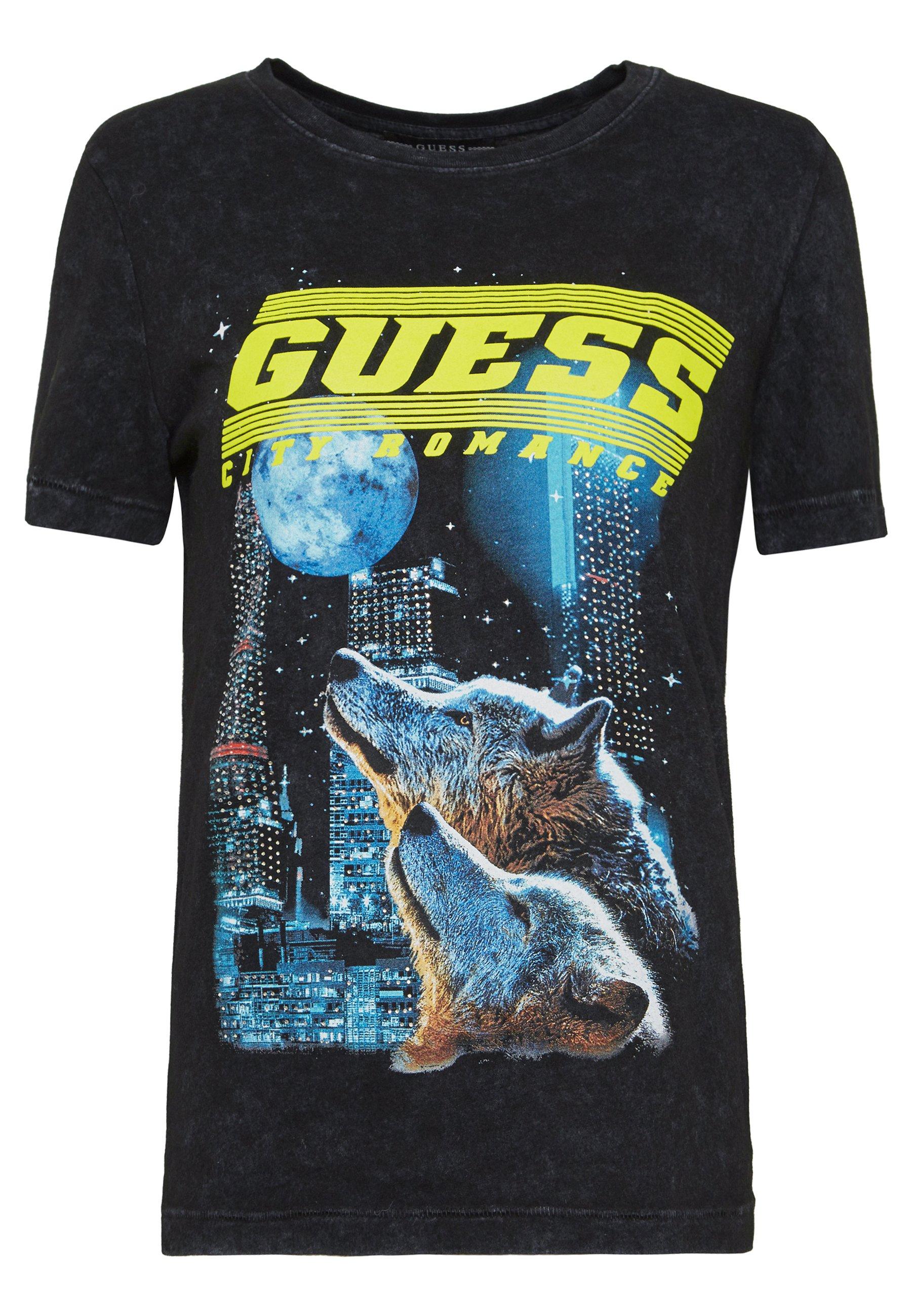 Guess NEON - Print T-shirt - jet black