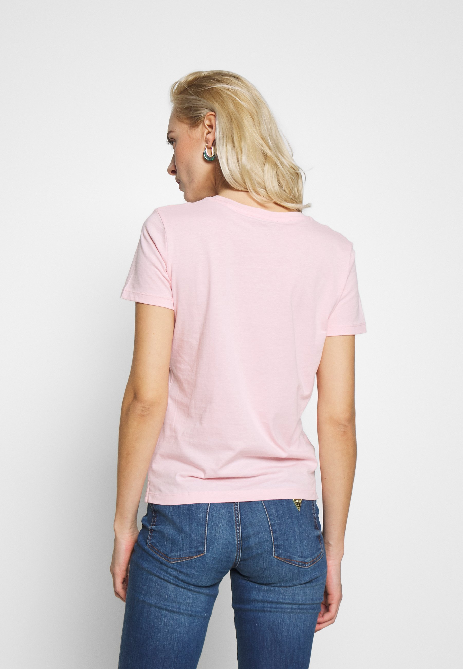Guess CREW NECK SS - T-shirts med print - pink palm tree