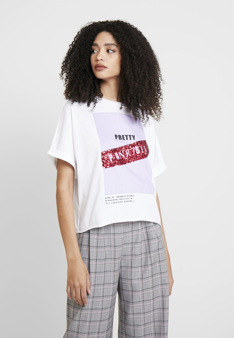 Guess - PUNK - Camiseta estampada - white and purple