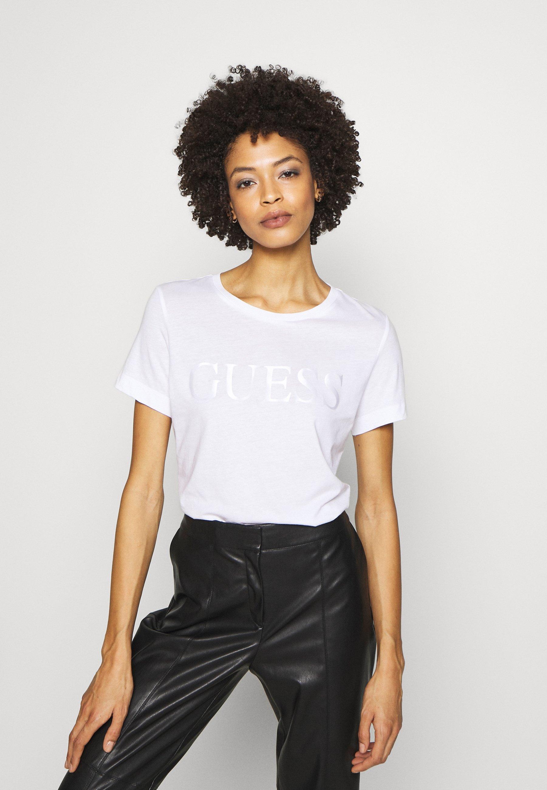 Guess SATINETTE TEE - T-shirt z nadrukiem - blanc pur