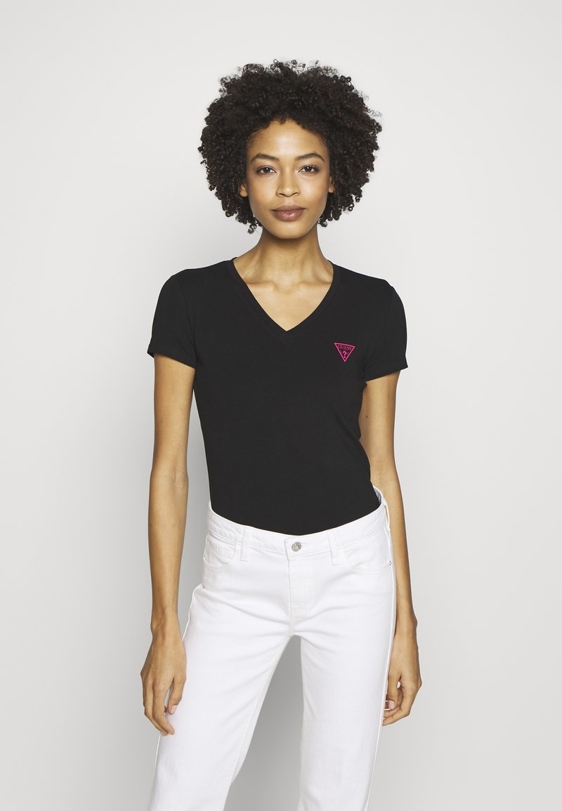 Guess - TRIANGLE - T-shirt con stampa - jet black