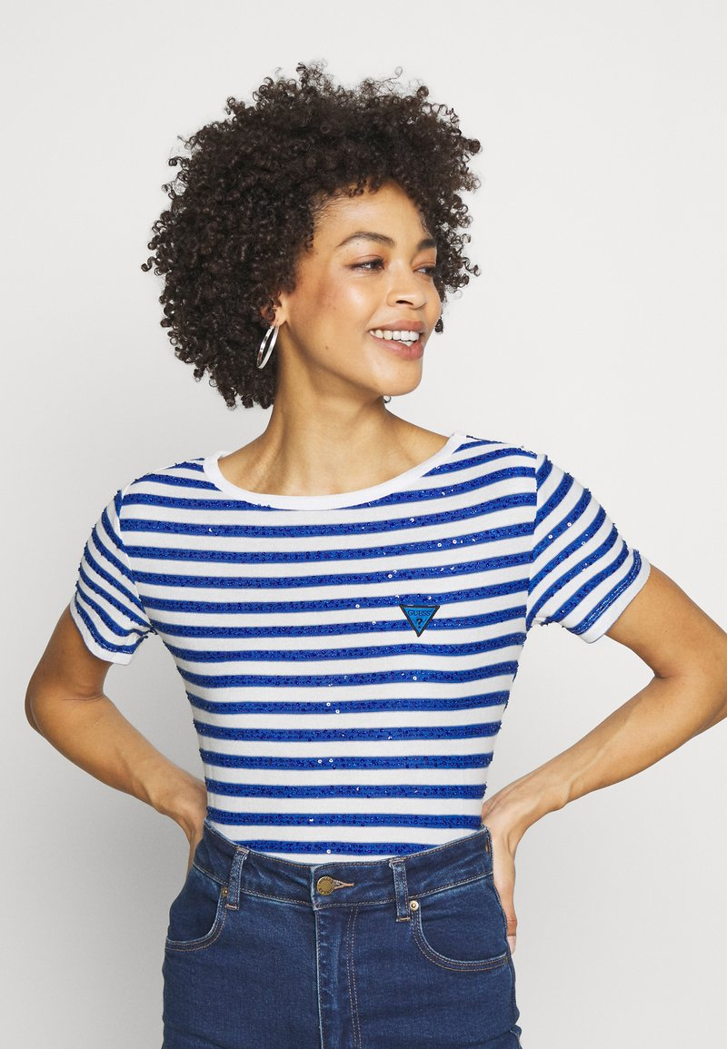 Guess - AMAIA - Print T-shirt - white/blue