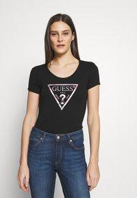 Guess - PEACE TEE - T-shirt print - black/pink - 0