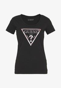 Guess - PEACE TEE - T-shirt print - black/pink - 3