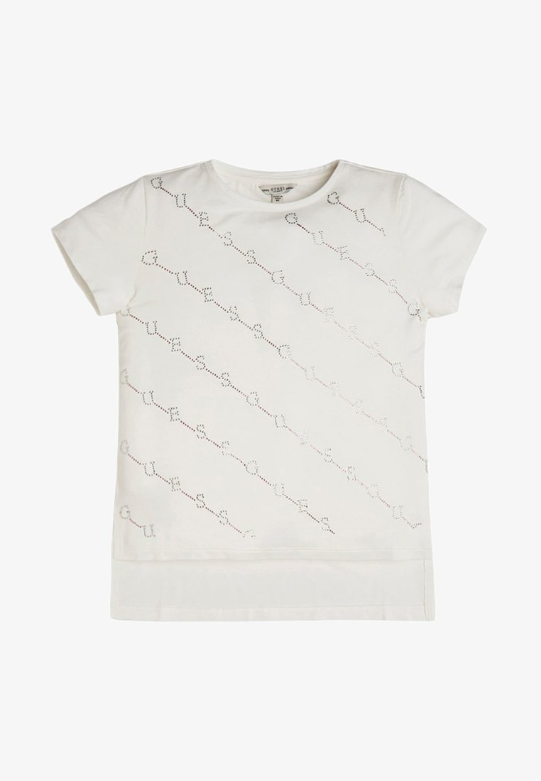 Guess - STRASS - T-shirt z nadrukiem - white
