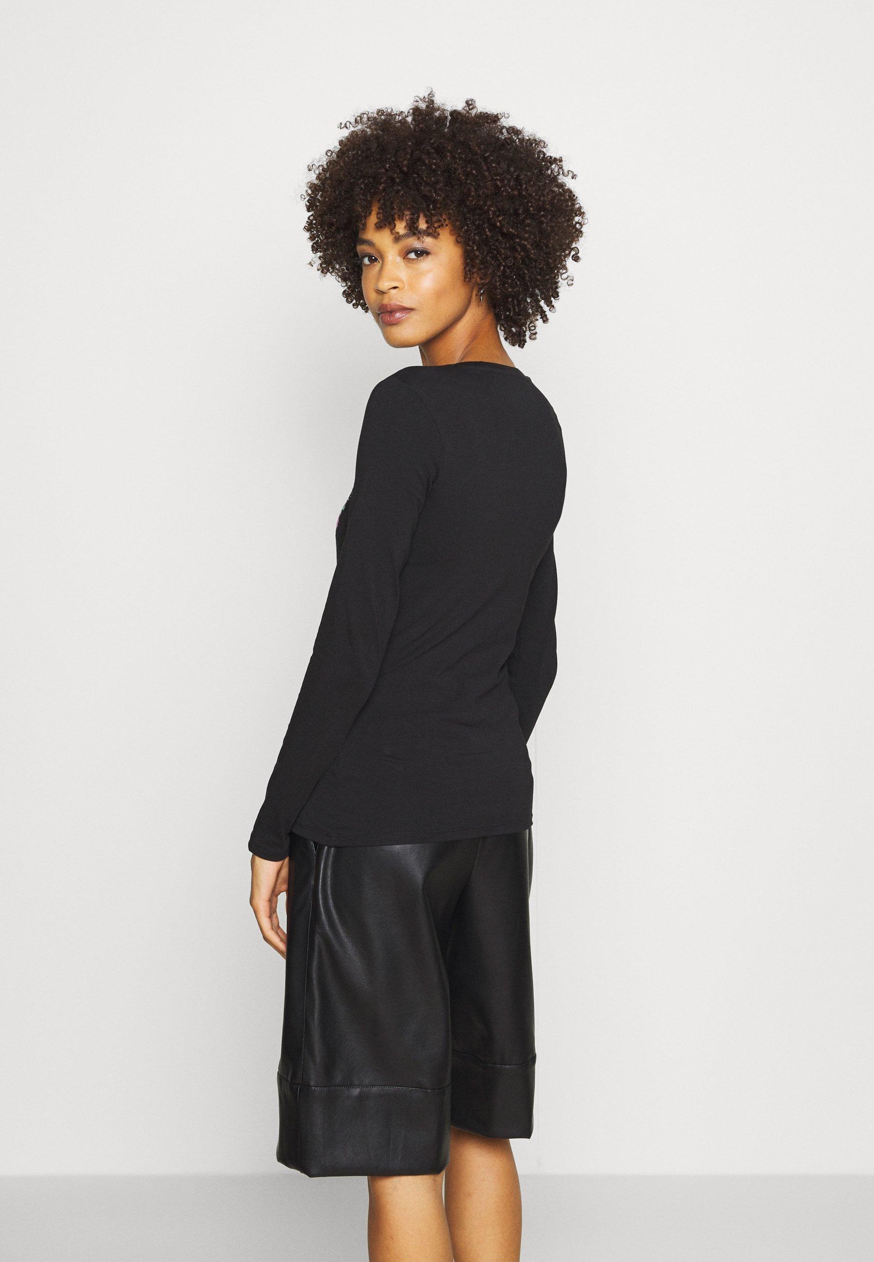 Guess VILMA TEE - Bluzka z długim rękawem - jet black