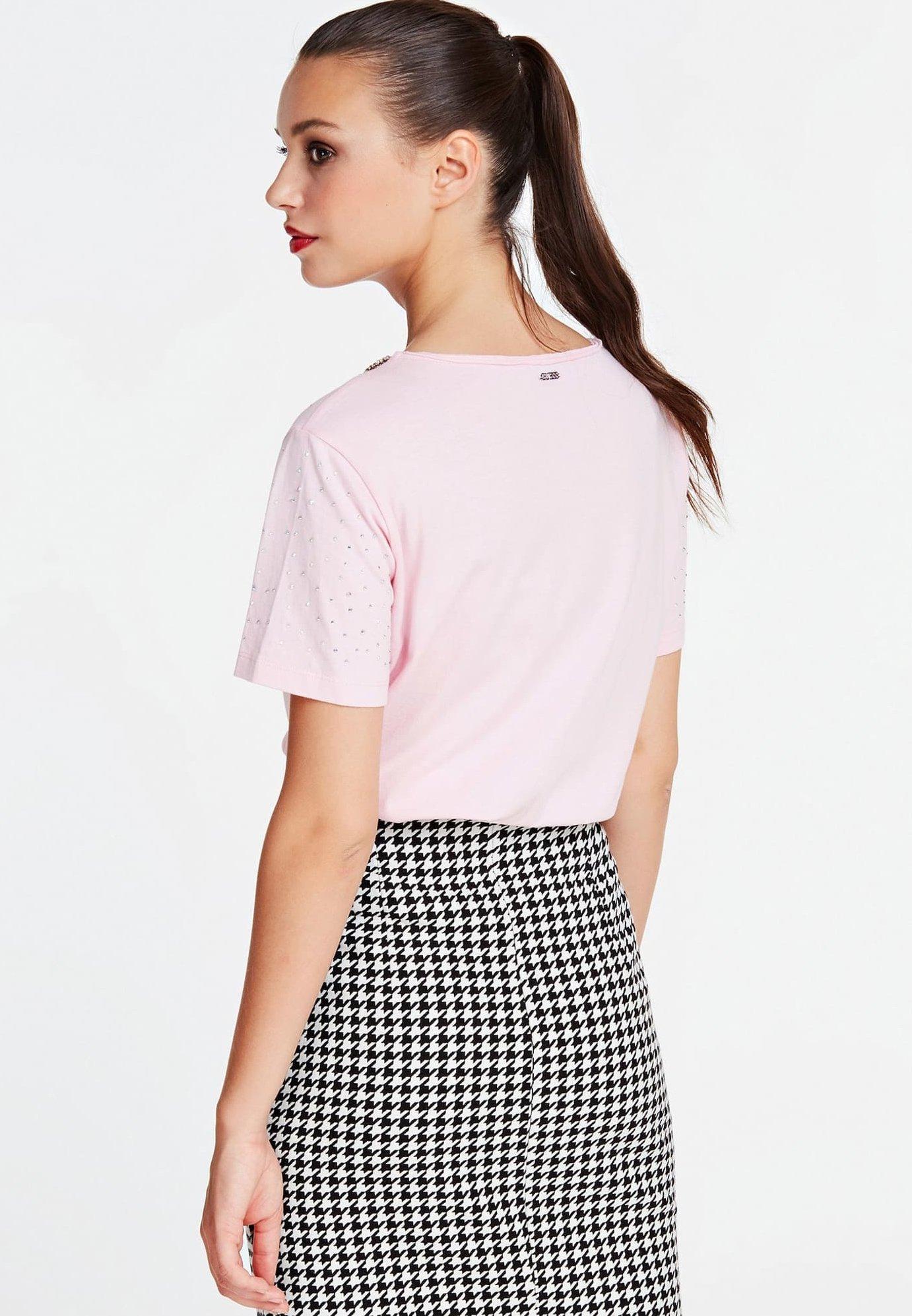 Guess MIT STRASS - T-shirt z nadrukiem - rose
