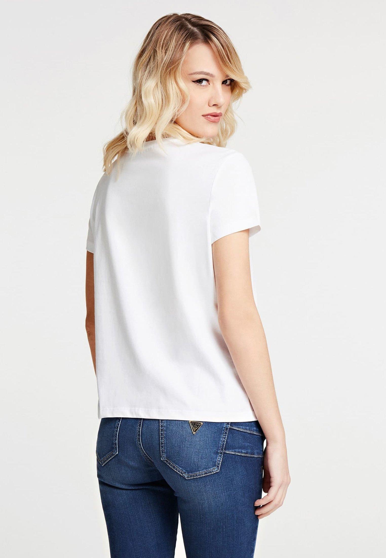 Guess T-SHIRT PARIS LOGO - T-shirt z nadrukiem - mehrfarbig/weiß
