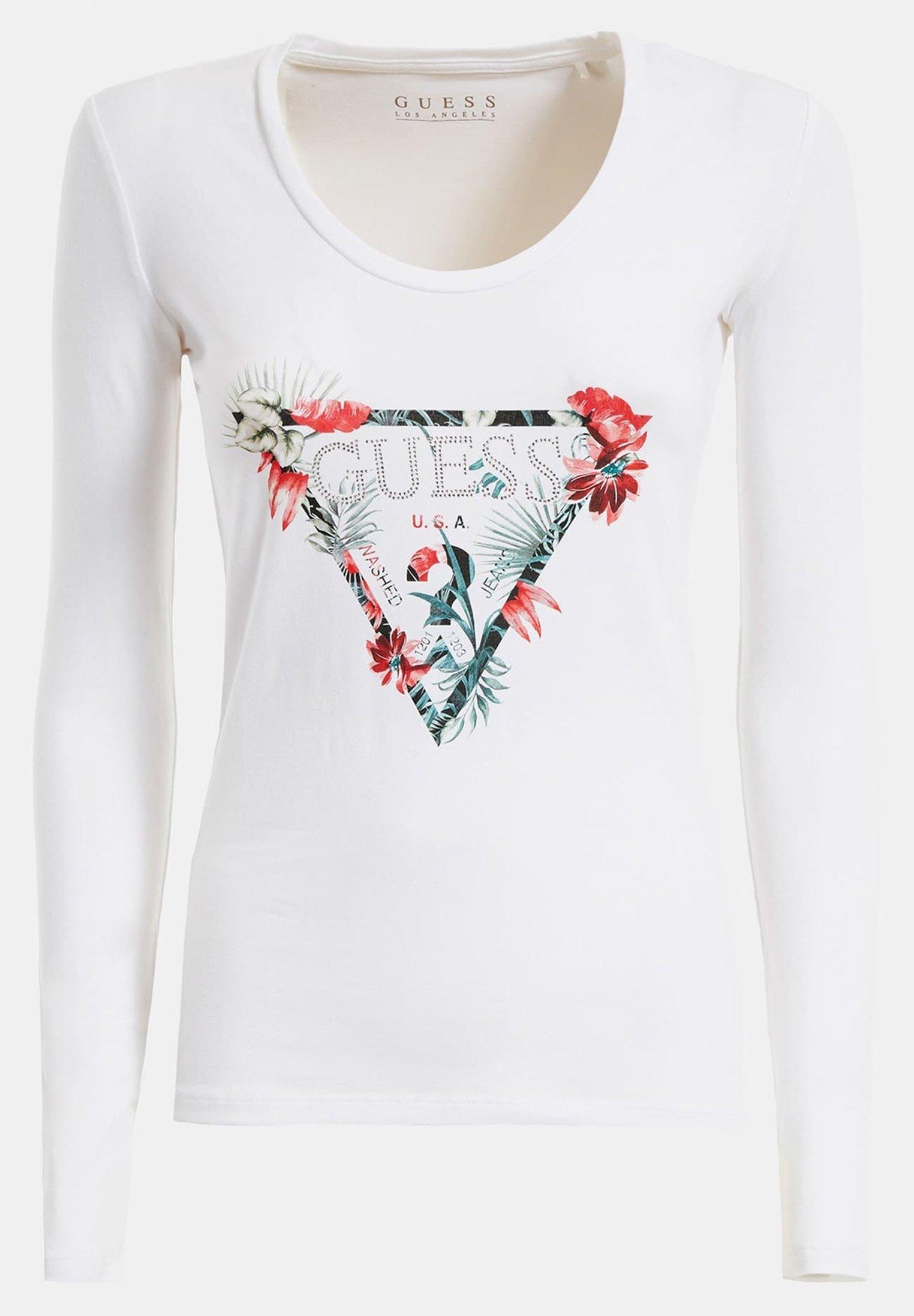 Guess T-shirt Logodreieck - Maglietta A Manica Lunga Weiß 4Z6Ayde
