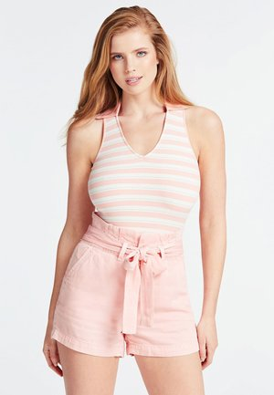 GESTREIFTES TANK TOP MIT LUREXGARN - Top - rose