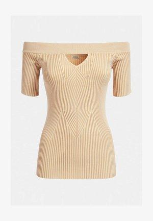GERIPPTER PULLOVER - T-shirt imprimé - beige