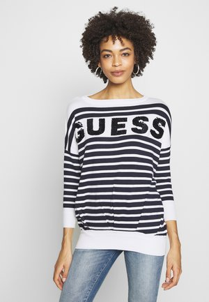 MEGAN SWEATER - Pullover - white and blu navy